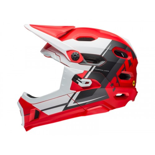 Kask Bell Super DH Mips Red White Black (2018)